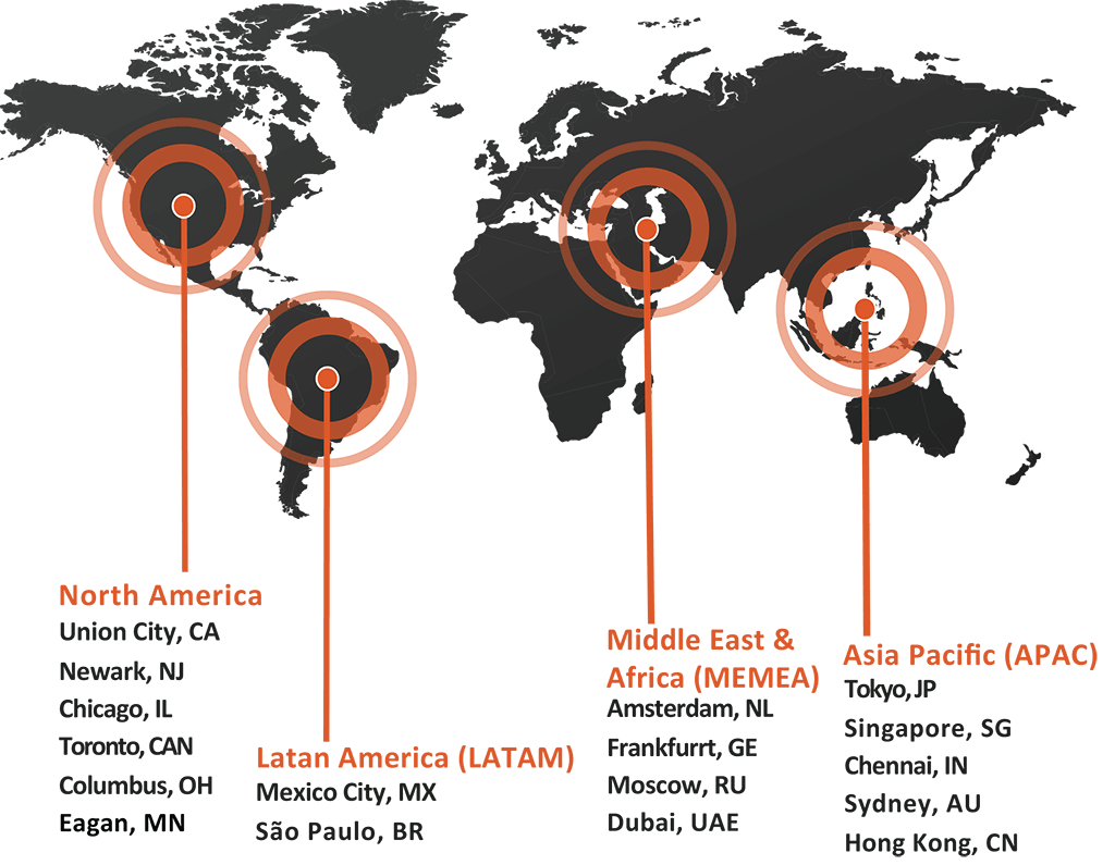 Flash Global WareHouse and Distribution Centers in North America, LATAM, EMEA and APAC
