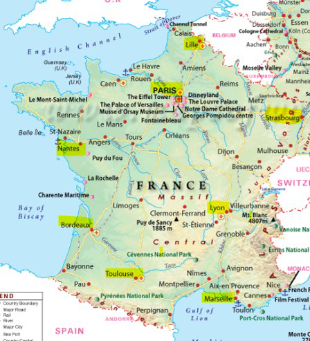 A map of France with Flash Global's Spare Parts Location Mapping